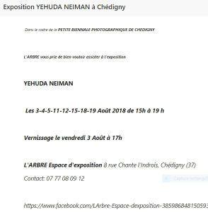 Exposition YEHUDA NEIMAN à Chédigny Août 2018