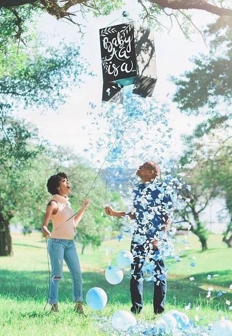 blog déco clemaroundthecorner gender reveal party confettis ballons bleu garçon boite carton diy