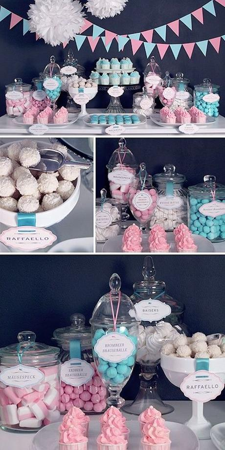blog déco clemaroundthecorner gender reveal party candy bar cupcakes couleurs bleu rose guirlandes paquet bonbons