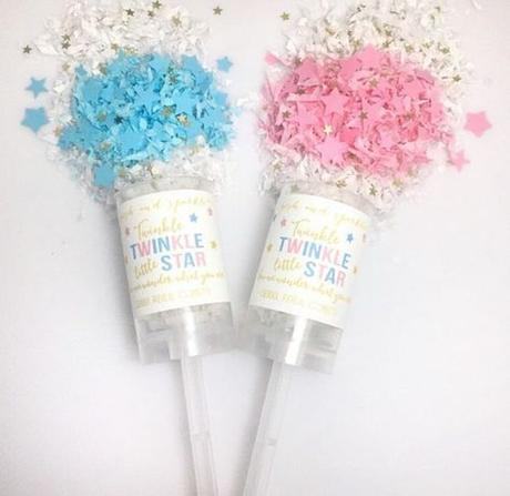 blog déco clemaroundthecorner gender reveal party confettis fille garçon confetti popper