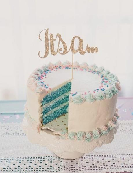 blog déco clemaroundthecorner gâteau cake bleu gender reveal party pâtisserie