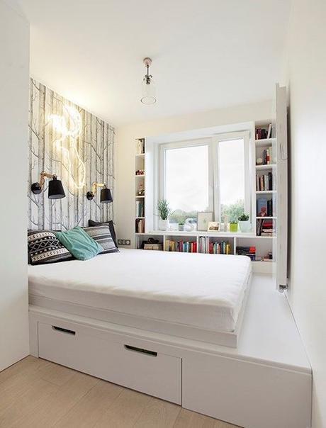 lit mezzanine idée déco studio chambre dans salon ikea hack