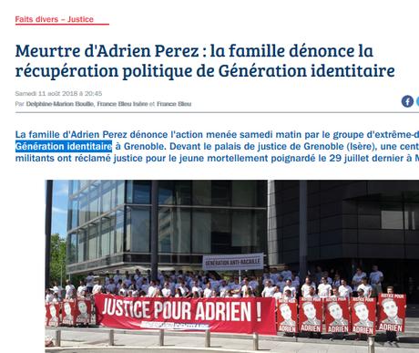 #GénérationIdentitaire tue Adrien Perez une seconde fois