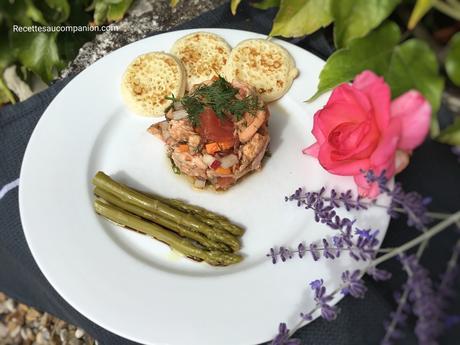 Tartare de saumon aux agrumes, petits légumes et asperges vertes au cookeo companion thermomix ou sans robot
