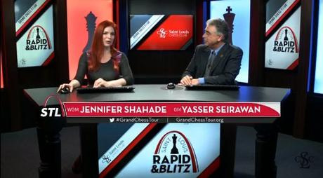 Le Streaming officiel commenté en anglais par Jennifer Shahade, Yasser Seirawan en studio et Maurice Ashley avec son fameux écran tactile