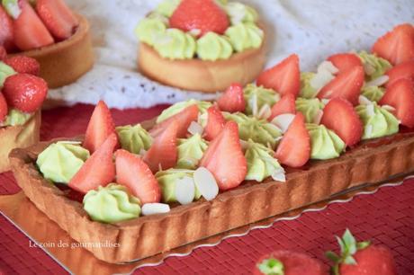 Tarte aux fraises et ganache pistache pour un combo parfait !