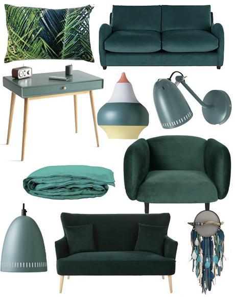 blog déco vert canard fauteuil canapé velours design clem around the corner nuance de vert