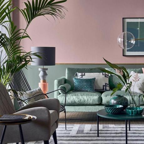 peindre soubassement bois mur bicolore rose vert de gris kaki laiton clem around the corner blog déco