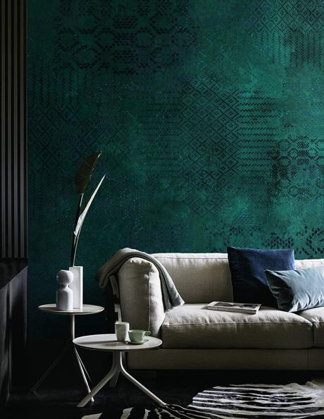 papier peint vert canard motif relief ethnique mur salon nuance de vert