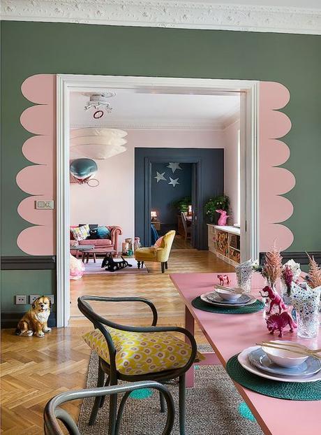 déco mur rose et kaki nuance de vert nuance de vert