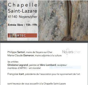 L'Art à la Chapelle (Noyers sur Cher)  exposition Ghislaine LEGRAND et Véro LOMBARD  24/30 Août 2018