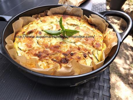 Gâteau Invisible aux courgettes,basilic et parmesan  IG bas