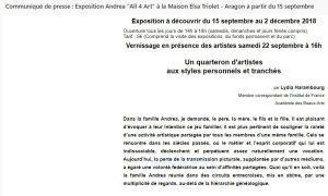 Maison Elsa TRIOLET   » Les Andrea  » All 4 Art  15 septembre au 2 Décembre 2018