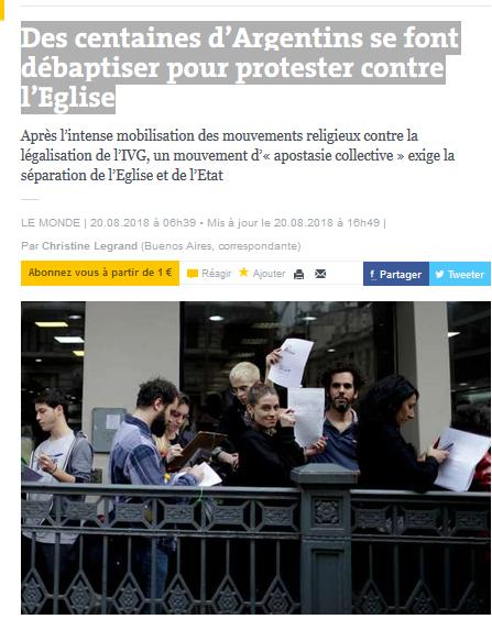 En Argentine, l'apostasie contre les catholibans #feminisme #IVG