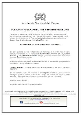 Hommage à Raúl Garello ce soir au Palacio Carlos Gardel [à l'affiche]