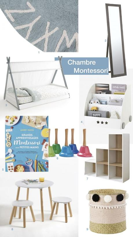 aménagement chambre Montessori éveil musical lit cabane tente blog déco clem around the corner