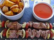 Brochettes canard chorizo oignon Sauce prunes