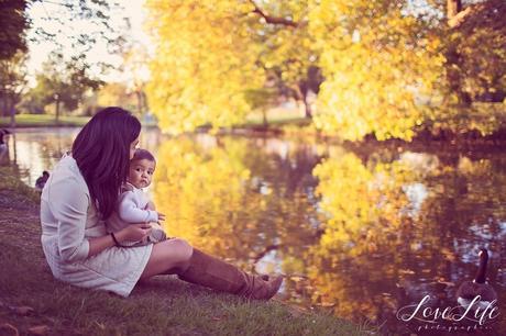 séance photo bébé un an automne coucher soleil