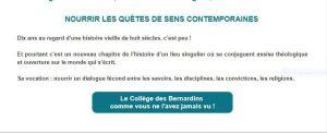 Collège des Bernardins  10  ans déjà ……………………..