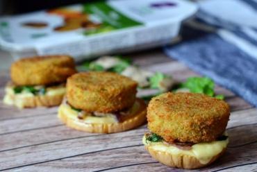 Recette bio :Bouchées bio végétariennes de panés de lentilles vertes et curry au lupin Végétal Gourmand
