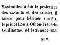 La mort du roi Maximilien II annoncée par le Monde illustré.