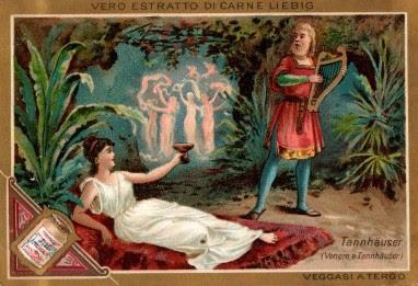 Chromos Liebig - Scènes d'opéras de Wagner -  Vénus et Tannhäuser.