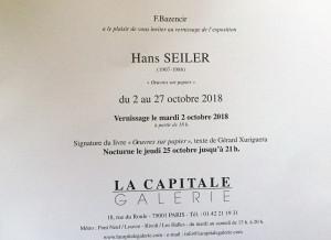 Galerie La Capitale  exposition Hans  SEILER    2 au 27 Octobre 2018