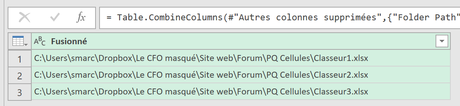 Power Query Dossier Fusionner Chemin