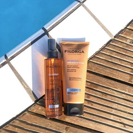 Mon avis sur l'huile corps SPF30 et l'après soleil UV BRONZE de Filorga !