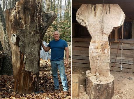 Arnold Schwarzenegger sculpté dans un tronc d'arbre