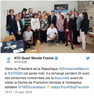 Emmanuel Macron : ATD Quart Monde et en même temps Richard Ferrand.