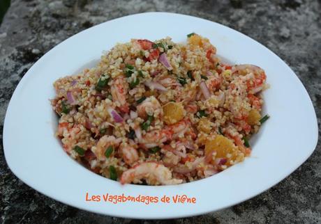 Salade de boulghour aux écrevisses et agrumes