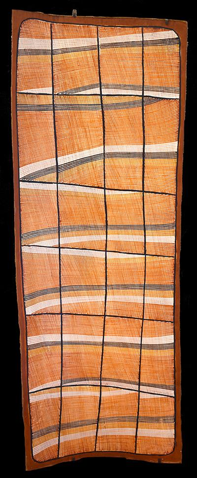 Focus sur une peinture sur écorce aborigène de John MAWURNDJUL présentée au Parcours des Mondes