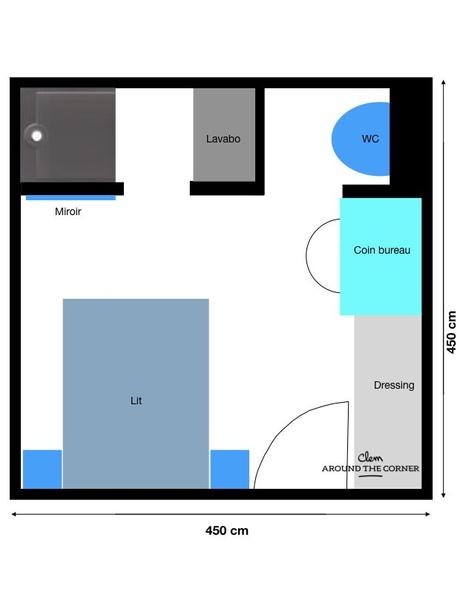 chambre plan suite parentale 18m2 salle de bain dressing blog déco clem around the corner