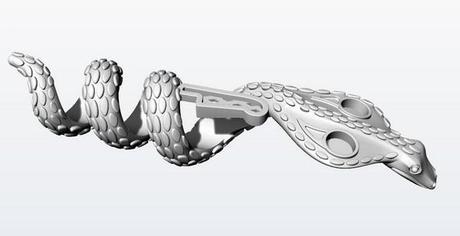 maquette numérique cao serpent egyptien pour pendentif