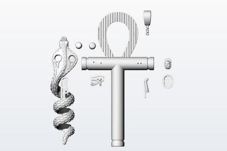 modélisation 3D du pendentif egyptien croix de vie
