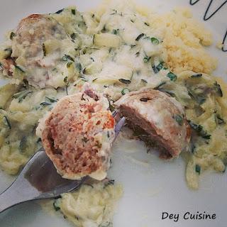 Boulettes aux champignons & sauce à la courgette