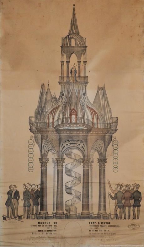 Une lithographie de 1853 représentant un chef-d'œuvre des compagnons passants charpentiers, Le Berryer