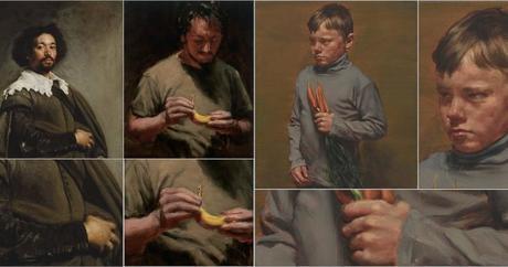 michael borremans, the banana, artiste peintre contemporain, belgique, surrealisme, peinture, velasquez