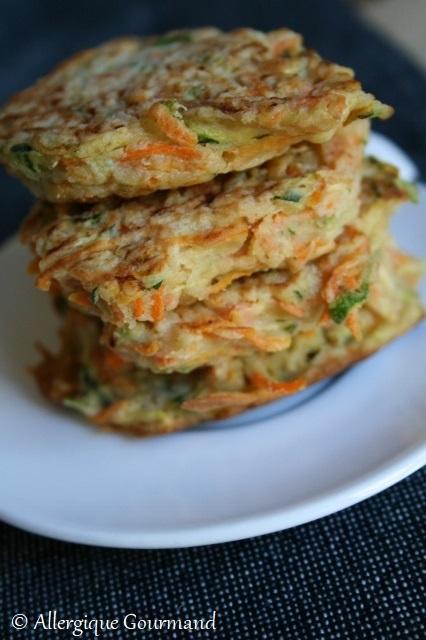 Galettes courgettes -carottes { sans gluten, sans lait, sans oeufs }