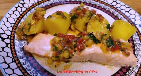 Saumon vapeur, sauce vierge à la mangue