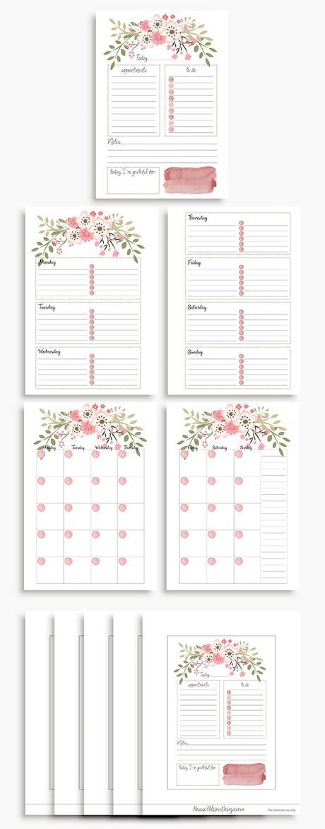 planner à imprimer floral fleurs rose printemps gratuit planning semaine quotidien hebdomadaire