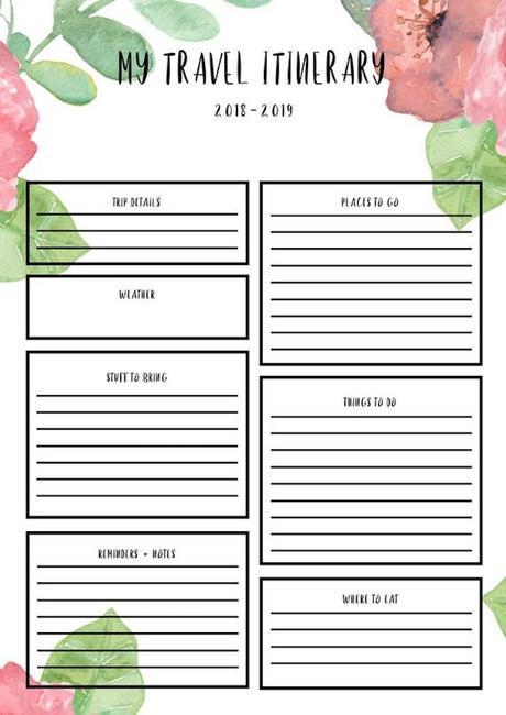 planner à imprimer floral itinéraire roadtrip fleurs nature blog déco