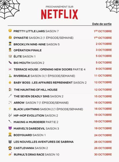 Netflix – Le programme d'Octobre 2018