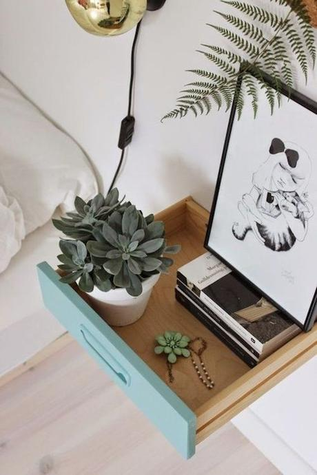 aménager 20m2 tiroir console flottante table de-nuit-chevet diy chambre blog déco