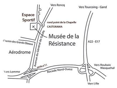 plan d'acces au Musée de la Résistance de Bondues
