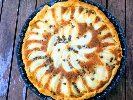 Tarte aux poires, chocolat et crème amandine