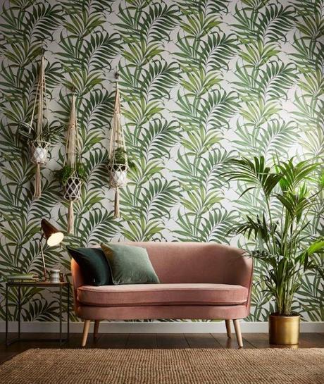 GRAHAM BROWN salon tropical papier peint feuillage urban jungle - blog déco - clem around the corner