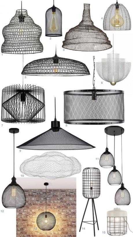 déco motif grille quadrillée lampe suspension grillage blog design clemaroundthecorner