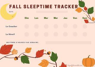 Printable d'automne : mon Tracker de sommeil